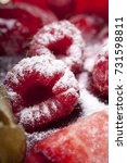raspberry in powdered sugar... | Shutterstock . vector #731598811