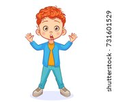 crazy red haired boy stands in... | Shutterstock .eps vector #731601529