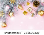 christmas frame with fir... | Shutterstock . vector #731602339