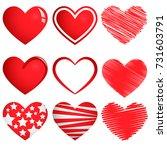 set of hearts. vector...   Shutterstock .eps vector #731603791