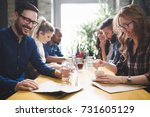 colleagues from work... | Shutterstock . vector #731605129