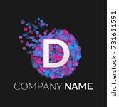 realistic letter d logo with... | Shutterstock .eps vector #731611591