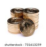 bitcoin stack golden coins.... | Shutterstock . vector #731613259