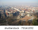 Panoramic aerial view of Arco Della Pace from Branca tower, Milan, Lombardy, Italy - stock photo