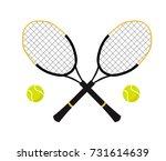 tennis balls and tennis racquet ... | Shutterstock .eps vector #731614639
