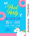 pool party invitation flyer... | Shutterstock .eps vector #731618461