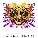 grunge tiger head with colorful ... | Shutterstock .eps vector #731622754