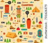 camping  hiking and fishing... | Shutterstock .eps vector #731626375
