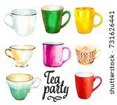 tea party set on white...   Shutterstock . vector #731626441