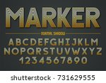 decorative lineated font with... | Shutterstock .eps vector #731629555