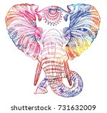 the head of an elephant.... | Shutterstock .eps vector #731632009