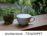 well mixed coffee on wood table ... | Shutterstock . vector #731634997