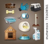 set of vector items for pets... | Shutterstock .eps vector #731638561