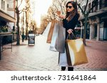 shopper woman shopping with a... | Shutterstock . vector #731641864