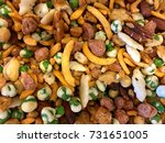 happy hour trail mix snack food ... | Shutterstock . vector #731651005