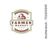 farmers market logo template... | Shutterstock .eps vector #731653345