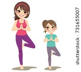 mom and daughter smiling doing... | Shutterstock .eps vector #731655007