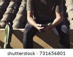 closeup of a young caucasian... | Shutterstock . vector #731656801