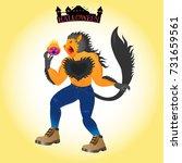 pumpkin werewolf holding...   Shutterstock .eps vector #731659561