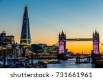 tower bridge in london at night | Shutterstock . vector #731661961
