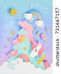 unicorn in paper art style with ... | Shutterstock .eps vector #731667157