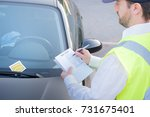 police officer giving a ticket... | Shutterstock . vector #731675401