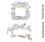 wedding invitation wreaths    Shutterstock . vector #731676115