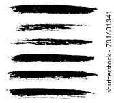 set of grunge stroke brushes.... | Shutterstock .eps vector #731681341