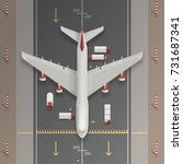 airplane on a runway... | Shutterstock .eps vector #731687341