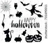 halloween icons set. vector... | Shutterstock .eps vector #731690011