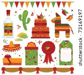 mexican party items with pinata ... | Shutterstock .eps vector #73169197
