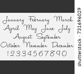 vector lettering months names...   Shutterstock .eps vector #731696029