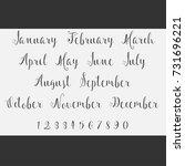vector lettering months names...   Shutterstock .eps vector #731696221