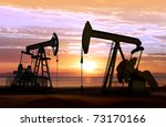 Silhouette Of Working Oil Pump...