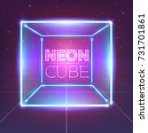 neon 80s styled cube on retro... | Shutterstock .eps vector #731701861