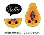 cute papaya characters. vector... | Shutterstock .eps vector #731701924