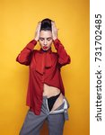 sporty brunette woman in... | Shutterstock . vector #731702485