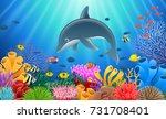 cartoon dolphin with coral reef ... | Shutterstock .eps vector #731708401