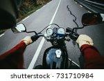 Overhead Shot Of Male Biker In...