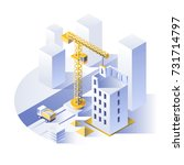 construction of residential... | Shutterstock .eps vector #731714797