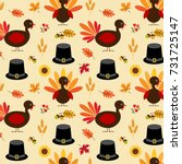 thanksgiving turkey and pilgrim ... | Shutterstock .eps vector #731725147