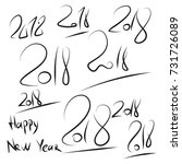 set hand drawn 2018 happy new... | Shutterstock .eps vector #731726089
