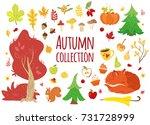 big set of vector autumn...   Shutterstock .eps vector #731728999