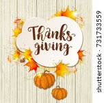 greeting card for thanksgiving... | Shutterstock . vector #731733559