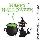 happy halloween card with... | Shutterstock .eps vector #731733565