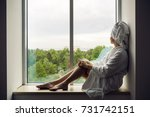 girl in a bathrobe and towel on ... | Shutterstock . vector #731742151
