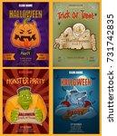 set of halloween party poster ...   Shutterstock .eps vector #731742835
