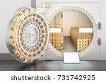 open bank vault with golden... | Shutterstock . vector #731742925