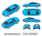 set of sedan cars. isolated car ... | Shutterstock .eps vector #731745067