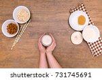plant alternative milk recipe ... | Shutterstock . vector #731745691